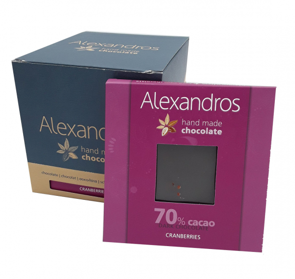 Chocolate Dark Cranberries 90 gr. Tafeln, 12er Box