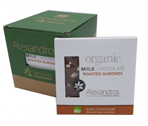Chocolate Milk Roasted Almonds 90 gr. Tafel 12er Box