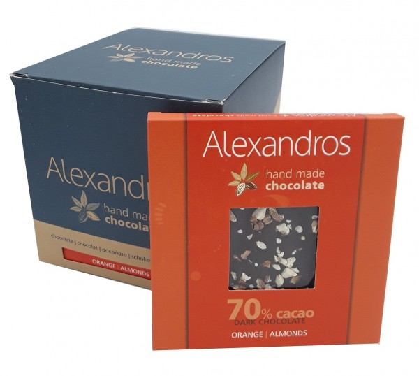 Chocolate Dark Orange / Almonds 90 gr. Tafel 12er Box