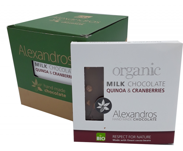 Chocolate Milk Quinoa / Cranberries 90 gr. Tafel 12er Box