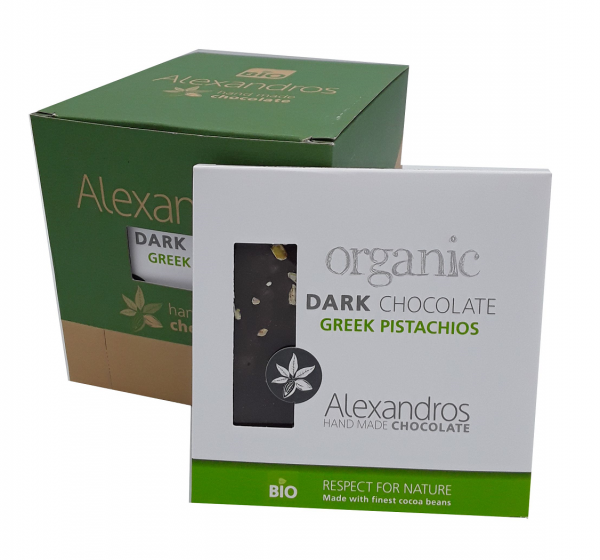 Organics Chocolate Dark Greek Pistachios 90 gr. Tafel 12er Box